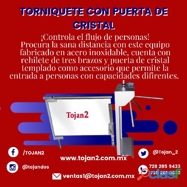 TORNIQUETE CON 3 BRAZOS Y PUERTA DE CRISTAL ACCESORIO