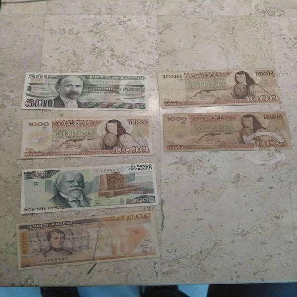 13 billetes antiguos de méxico y 2 extranjeros