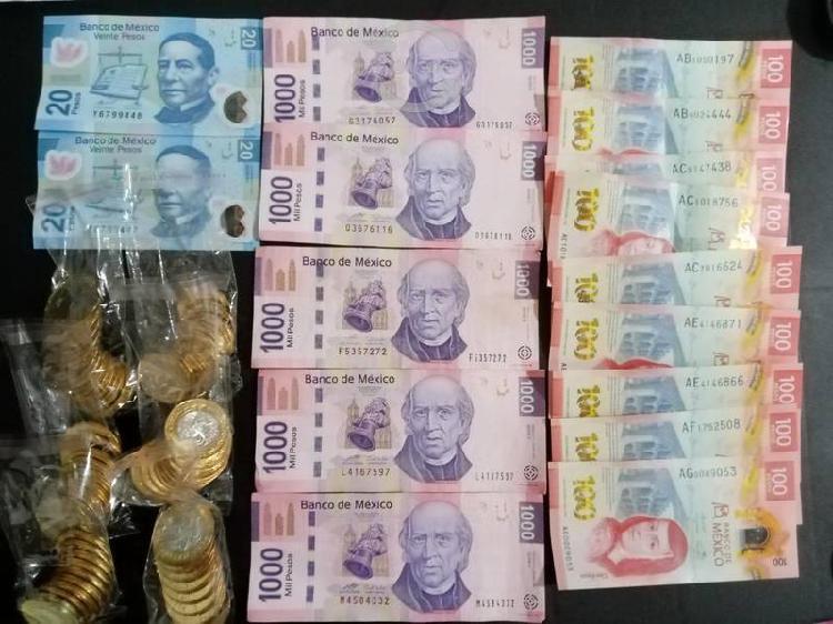 Billetes colección de $100 $1,000 y monedas de $20