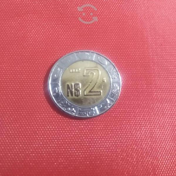 Moneda de 2 nuevos pesos año 1992 de coleccion.