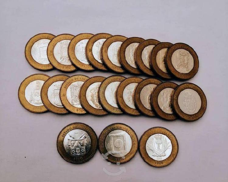 Monedas con centro de plata de 100 pesos!!!