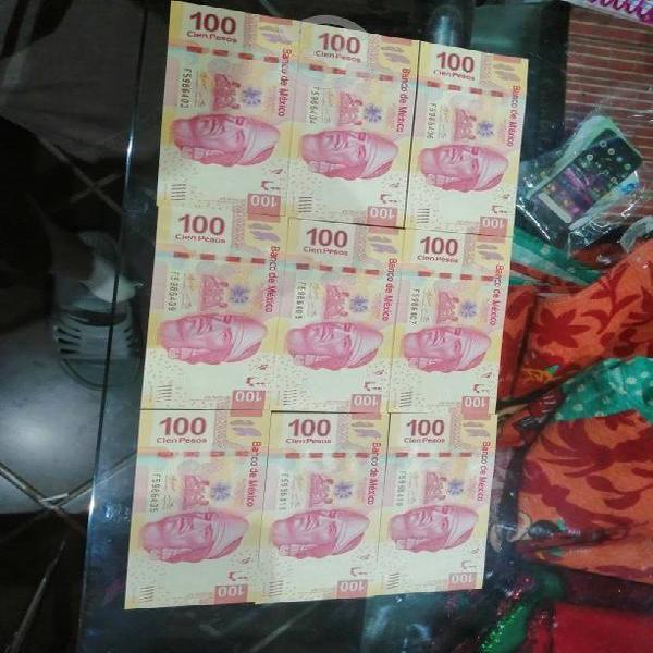 Billetes de 100 pesos con serie seguida