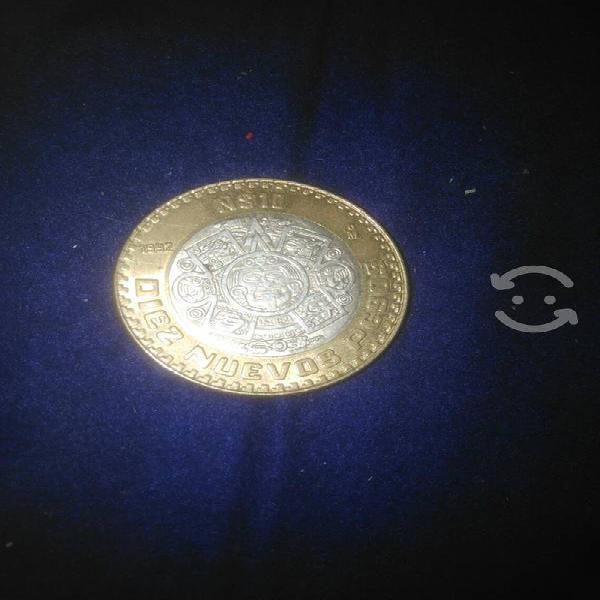 Moneda de plata 10 nuevos pesos 1992