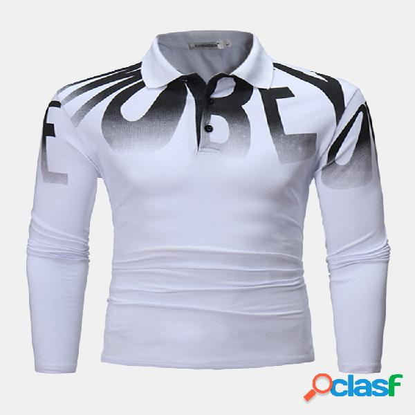 Mens fashion letter printing golf camisa primavera otoño manga larga casual algodón t camisas
