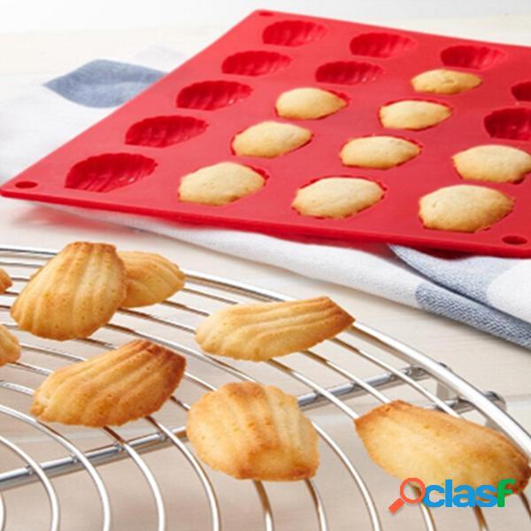 20 cavidad mini madeleine shell torta de silicona torta molde de silicona moldes para hornear herramienta
