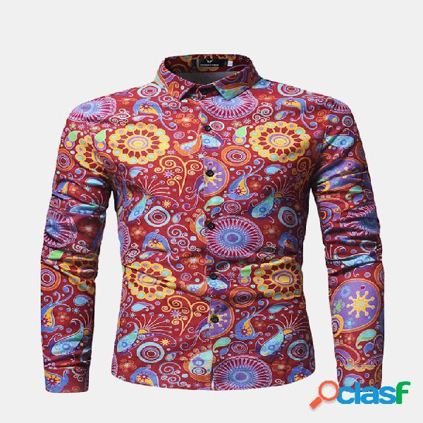 Floral bloom turn down collar manga larga casual camisa para hombres