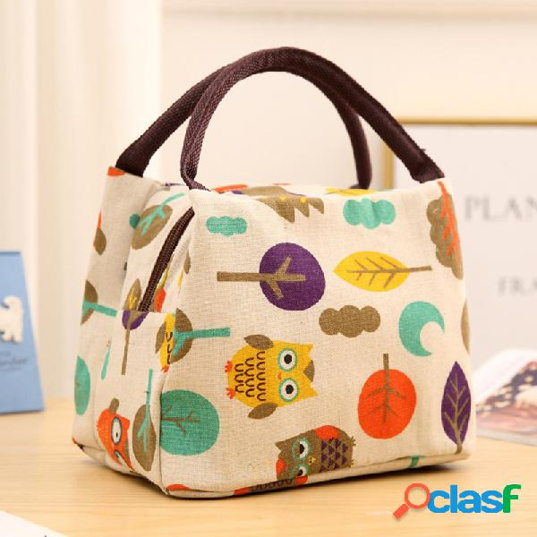 Paquete de aislamiento multicolor lindo bolsa de viaje portátil bolsa de hielo bolsa de almuerzo de tela de algodón bolsa de almuerzo