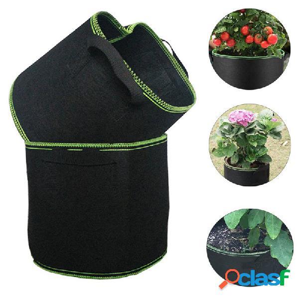 Siembra de tela no tejida bolsa jardinería herramientas / manijas contenedor de macetas de aireación redondo