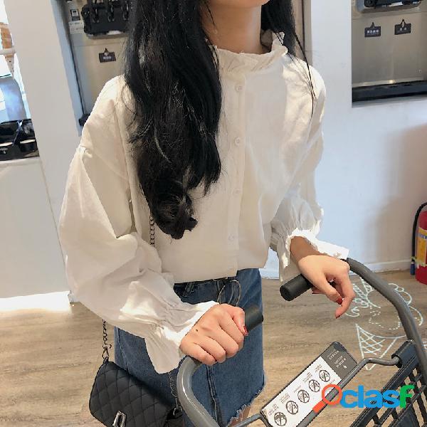Camisa de manga larga casual suelta con cuello en o para mujer