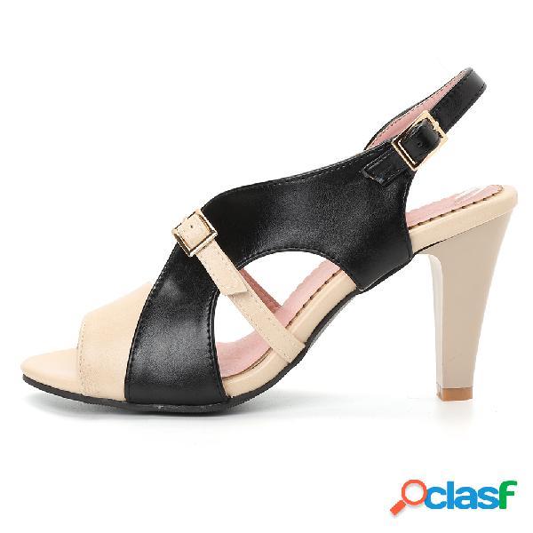 Plus tamaño mujer señoras fiesta peep toe hebilla hueca tacón alto sandalias
