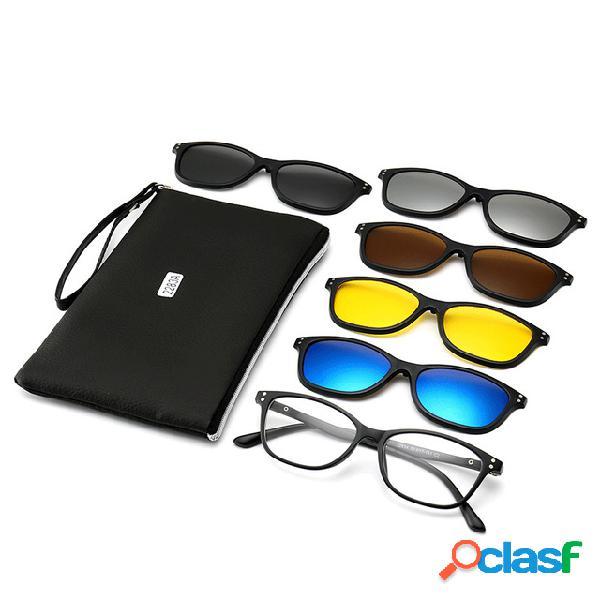 Nuevas gafas de sol polarizadas con clip de 5 piezas myopia caja imán set mirror