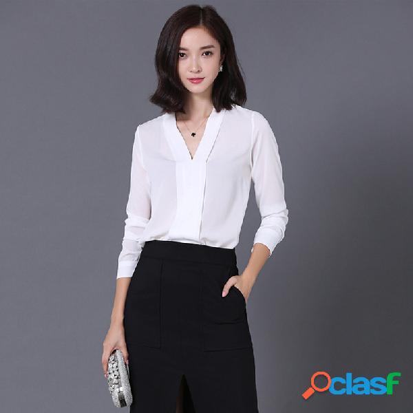 Escote de pico color liso camisa de gasa de manga larga casual suelta