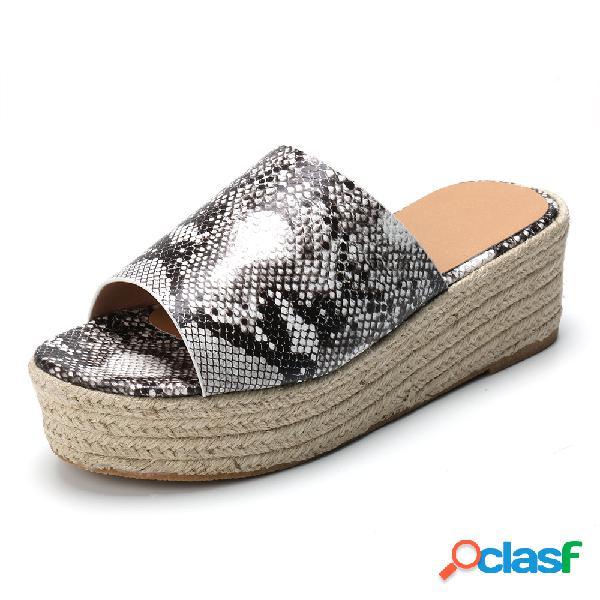 Plus tamaño mujer plataforma de paja peep toe cómoda casual zapatillas