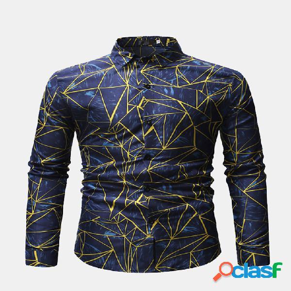 Geometría de los hombres impreso turn down collar de manga larga casual camisa para hombres