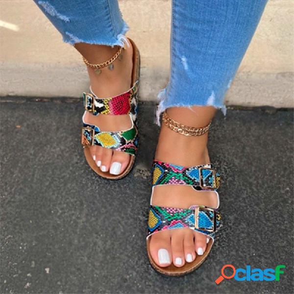 Plus tamaño mujer causal playa venas doble correa plana zapatillas