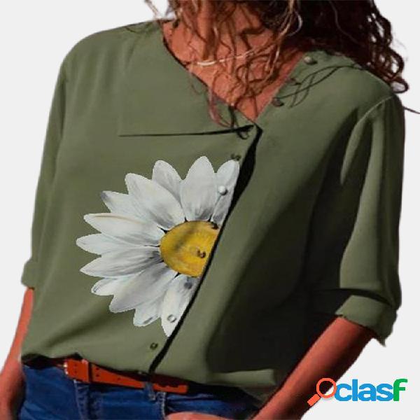 Margarita estampado de flores solapa manga larga casual camisa para mujer