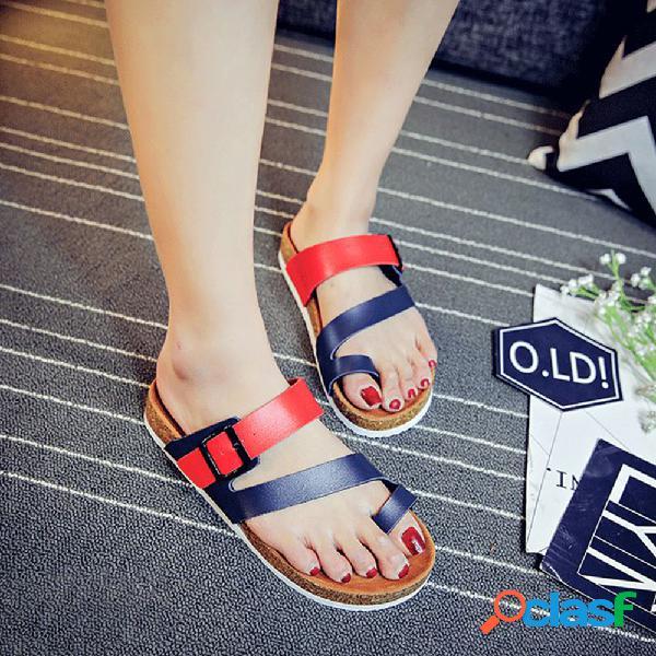 Plus tamaño mujer casual clip toe buckle soft sandalias