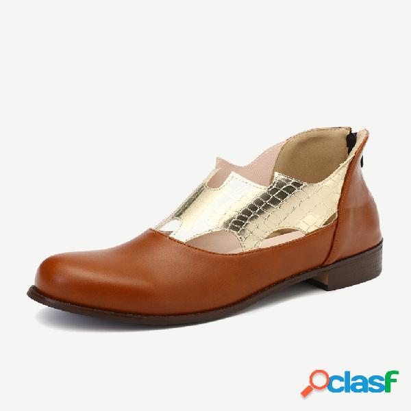 Plus talla mujer punta redonda hueco cómodo cremallera tacón en bloque tobillo botas