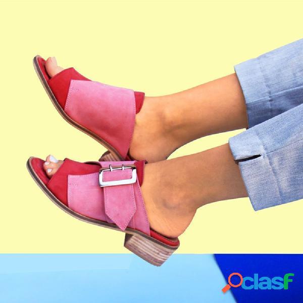Plus talla mujer hebilla de tacón bloque con punta abierta abierta informal sandalias