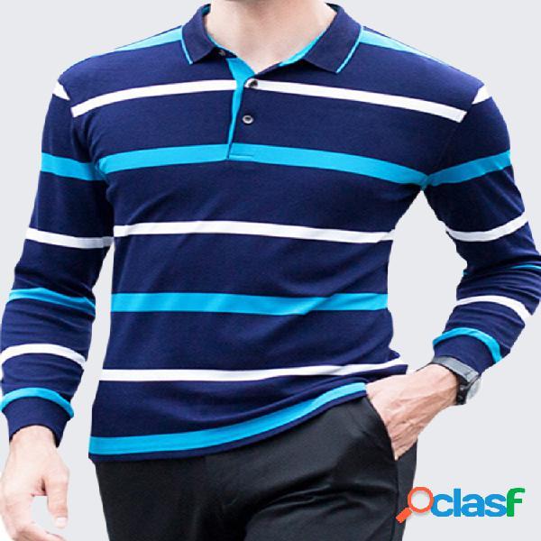 100% algodón a rayas de punto de manga larga casual business golf camisa para hombres