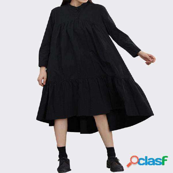 Color liso manga larga casual algodón holgado plisado camisa vestido