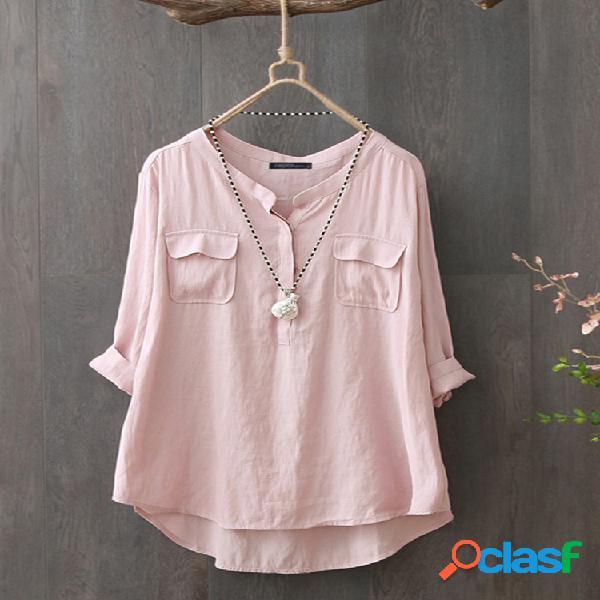 Casual de color sólido de manga larga plus talla algodón camisa