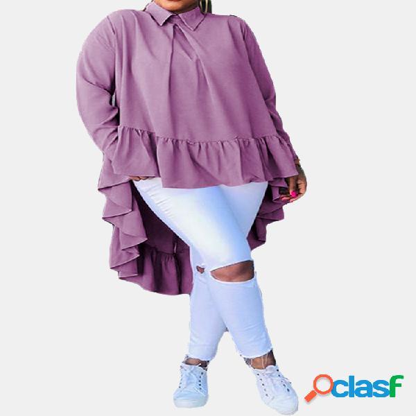 Color sólido volantes manga larga casual camisa para mujer