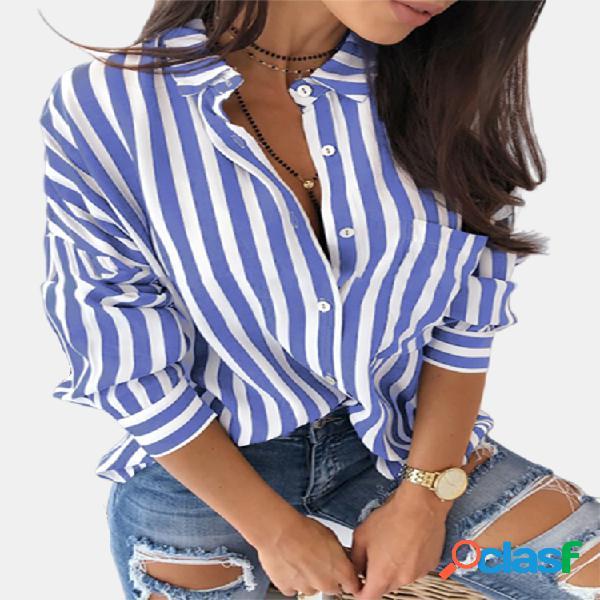 Manga larga a rayas casual plus talla camisa para mujer