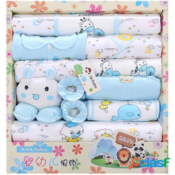 18pcs recién nacido bebé ducha caja de regalo ropa conjunto + accesorios para 0-6m