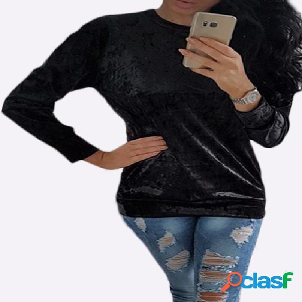 Camisa de manga larga casual de terciopelo negro en color negro