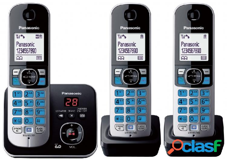 Panasonic teléfono inalámbrico kx-tg6823meb, dect, altavoz, negro/plata