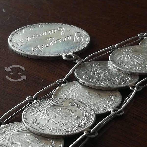 Pulsera monedas plata 20 centavos resplandor