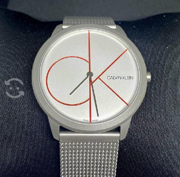 Reloj suizo p/caballero calvin klein, gris nuevo!