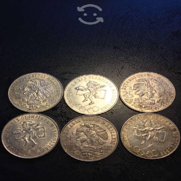 Monedas de $25 .00 pesos olimpiada de 1968 mexico