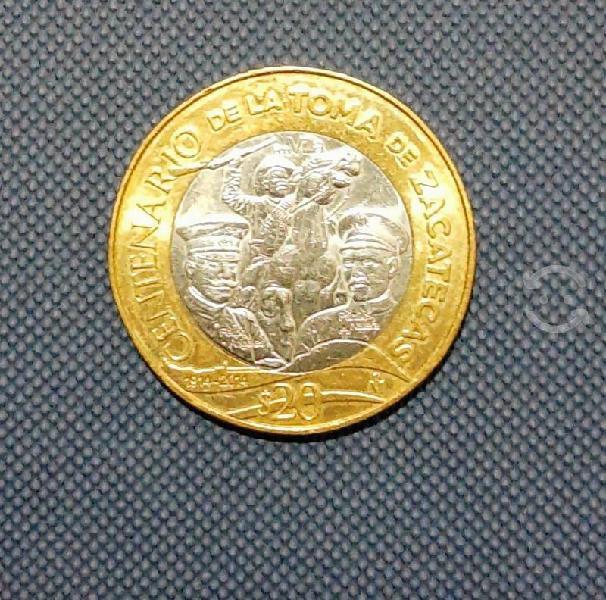 Moneda de 20.toma de zacatecas