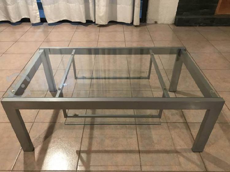 Mesa de aluminio y cristal templado