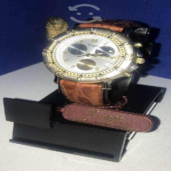 Reloj suizo cronógrafo fechador luger nuevo