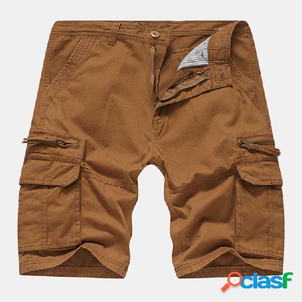 Pantalones cortos de algodón transpirable de verano para hombre carga pantalones cortos de color sólido con múltiples bolsillos hasta la rodilla longitud pantalones cortos casuales