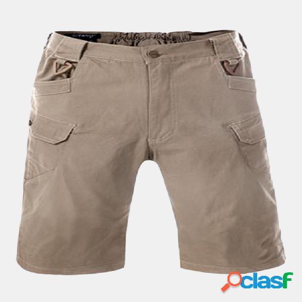 Pantalones cortos de verano ocasionales de color sólido de algodón para hombre al aire libre carga pantalones cortos