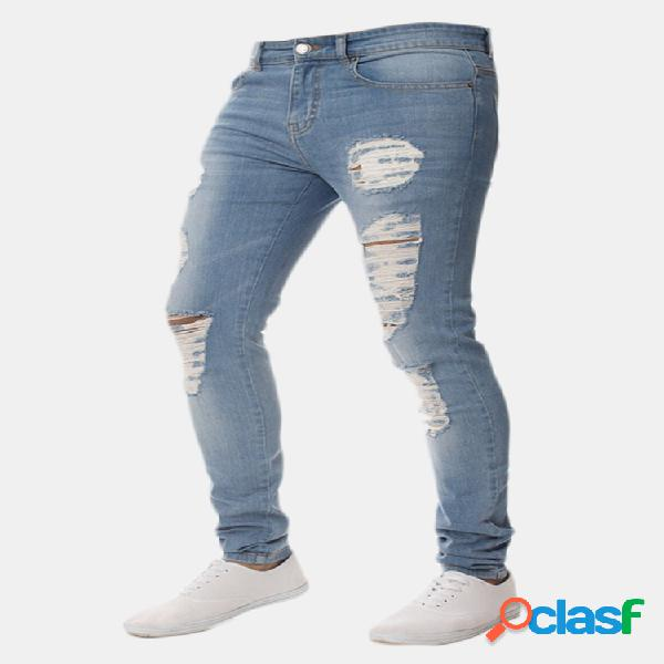 Skinny ripped holes pencil pants jeans para hombres