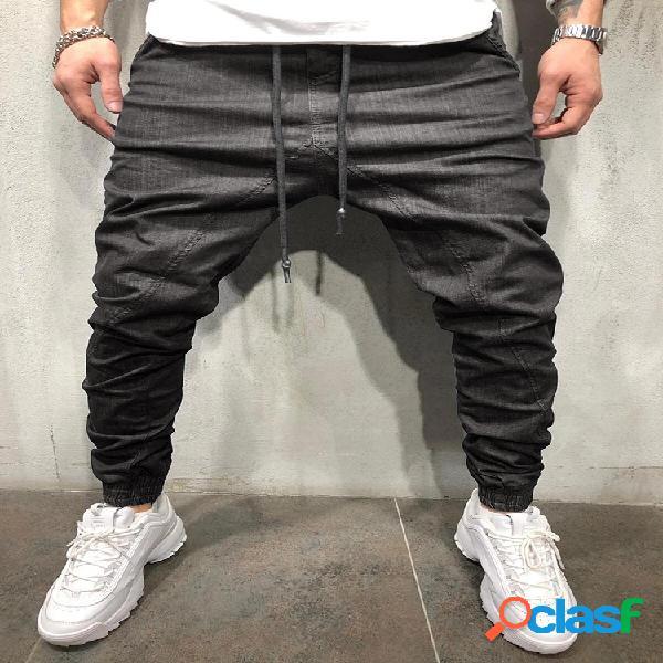 Pantalones jeans ajustados sólidos con cordón de gran tamaño para hombre