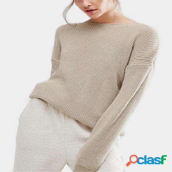 Suéteres sueltos con espalda recortada en color beige