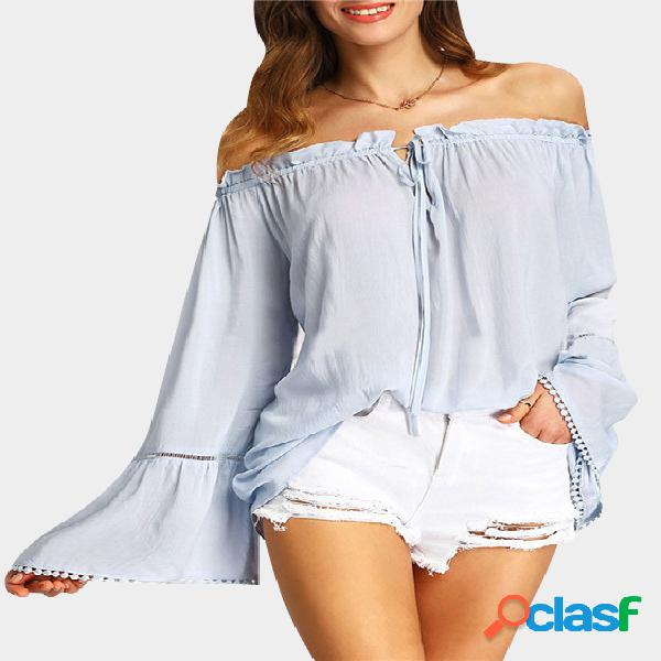 De hombro con la correa ajustable hollow out blusa mangas blusa