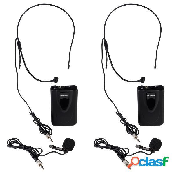 Steren sistema de 2 micrófonos wr-058, inalámbrico vhf, negro