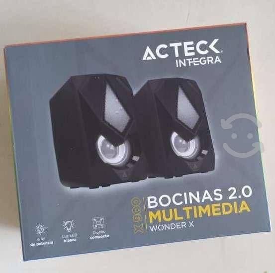 Bocinas usb acteck 2.0 x900 luz led 6w para pc 3.5