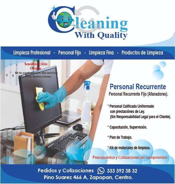 Servicios profesionales de limpieza, sanitización