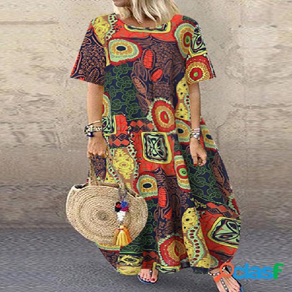 Crew cuello manga corta con estampado estilo folk vendimia vestido para mujer