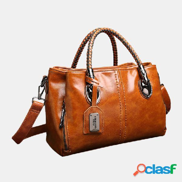 Mujer vendimia bolso oil cuero de cera crosssbody de tres capas bolsa