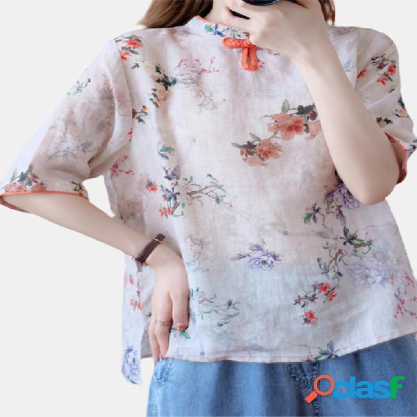 Vendimia blusa con estampado de flores y cuello redondo de rana para mujer