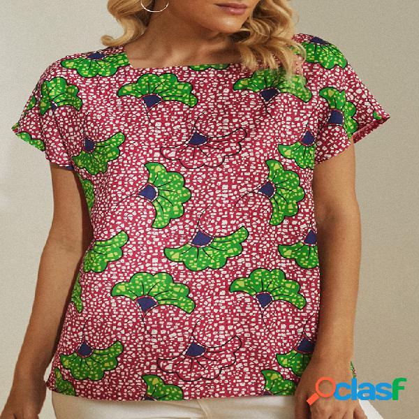 Vendimia blusa estampada de manga corta con cuello cuadrado para mujer